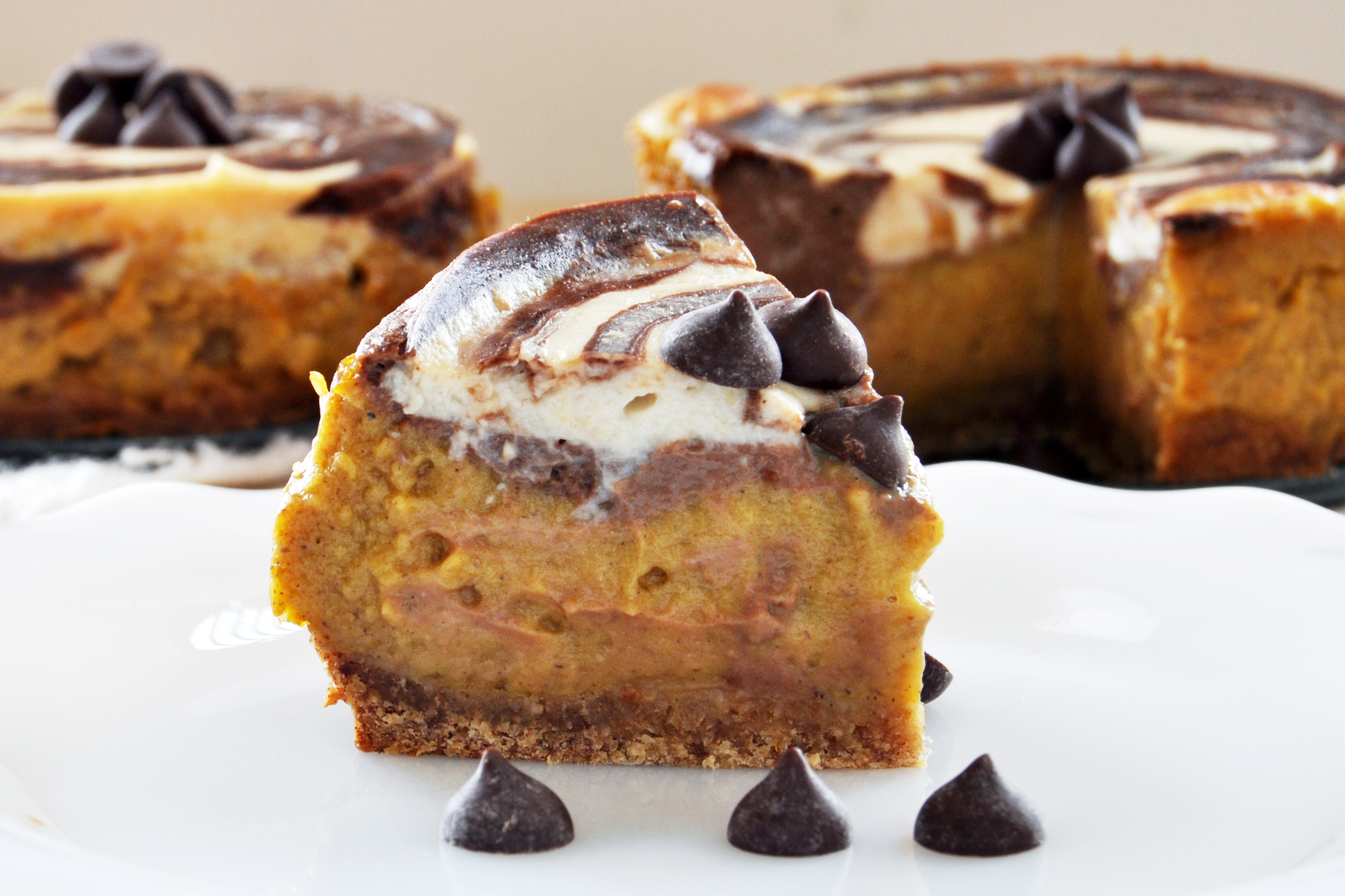 Swirled Pumpkin and Chocolate Cheesecake picture