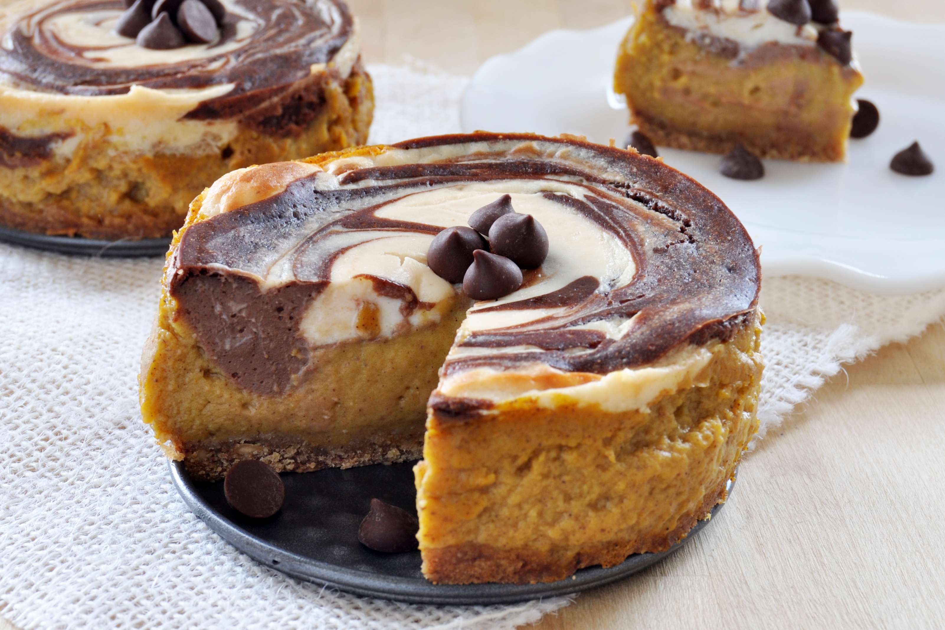 Chocolate+ Cheesecake Swirl Pumpkin Pie, Vegan+ Gluten-Free