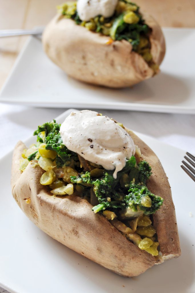 Lentil Kale Stuffed Sweet Potato Tahini Garlic Cream Vegan Gluten-Free 3