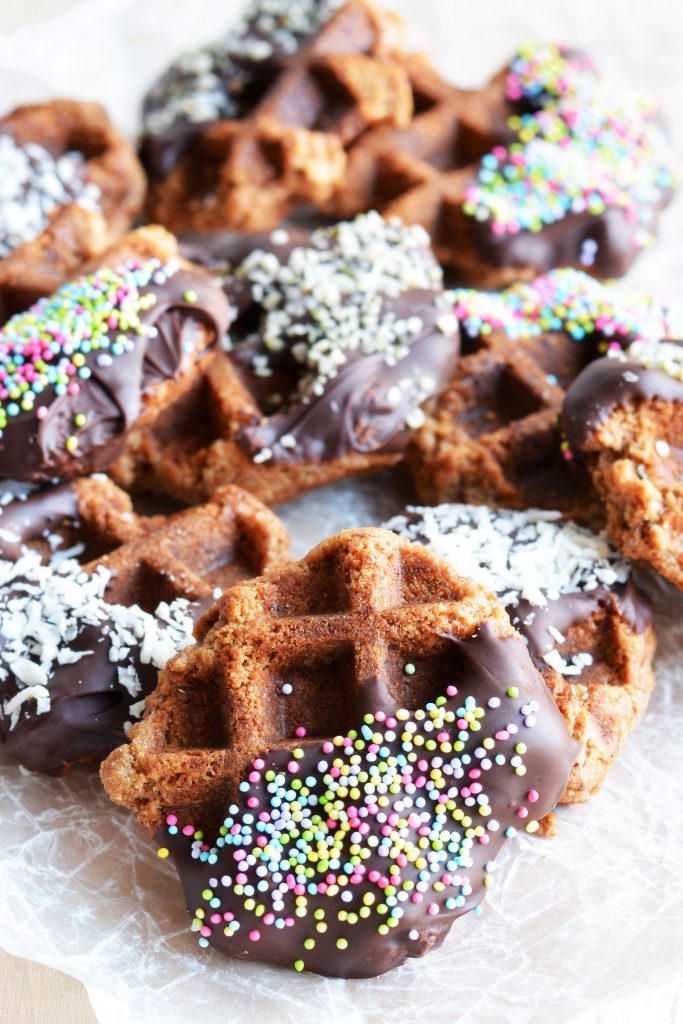 Chocolate Covered Peanut Butter Waffle Cookies, Vegan 6