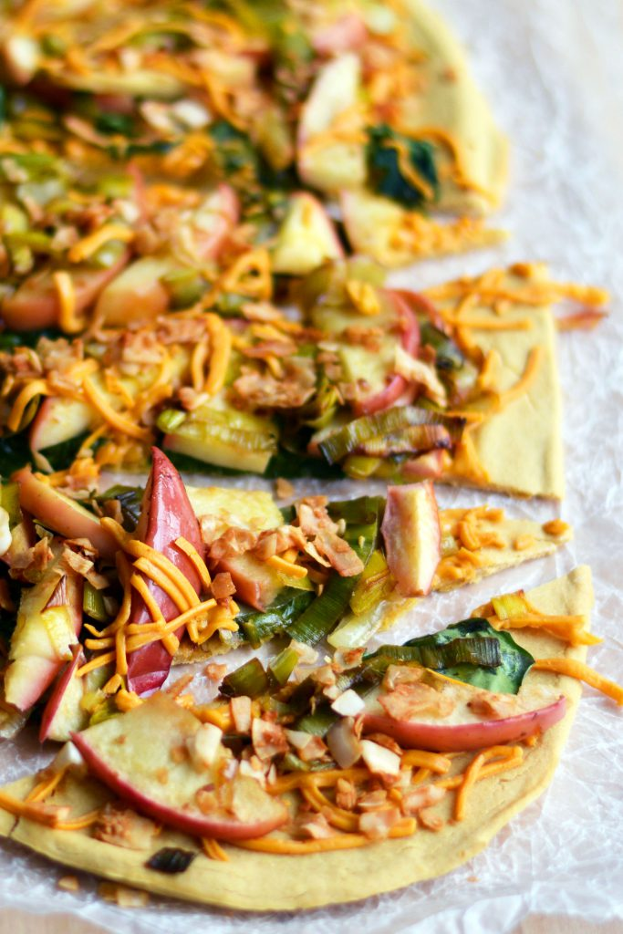 Leek, Apple & Coconut Baco Pizza on Chickpea Flour Crust Vegan Gluten-Free 2