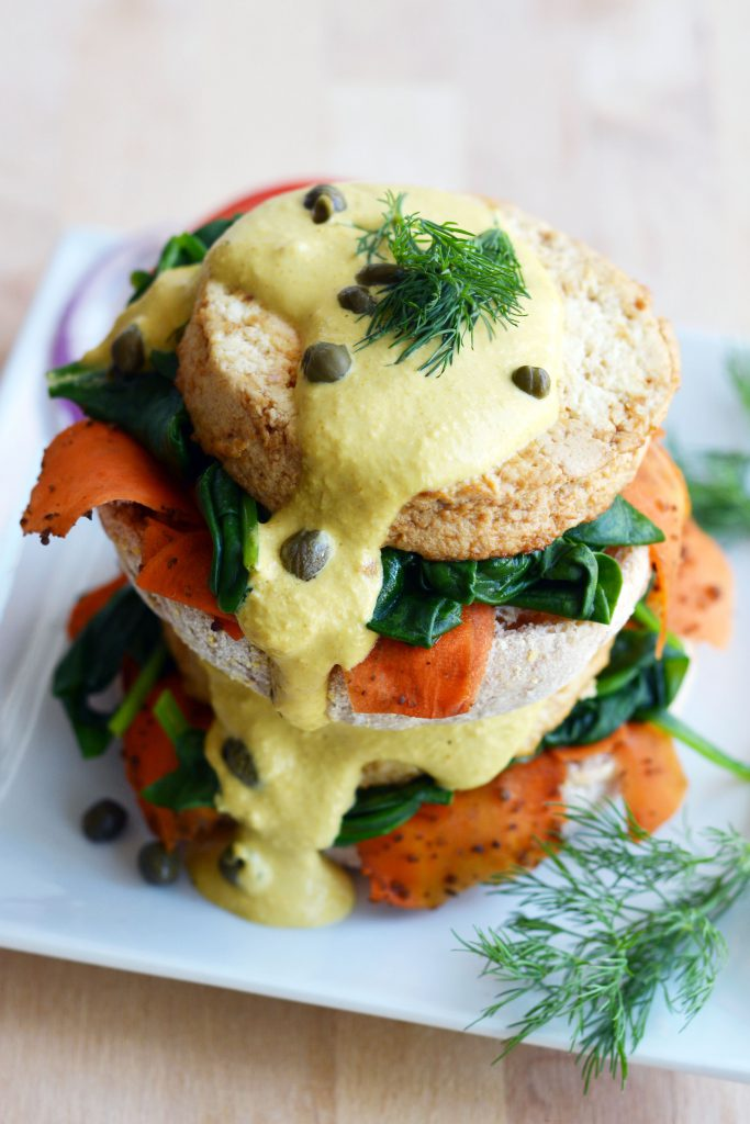 Vegan Tofu and Carrot Lox Benedict