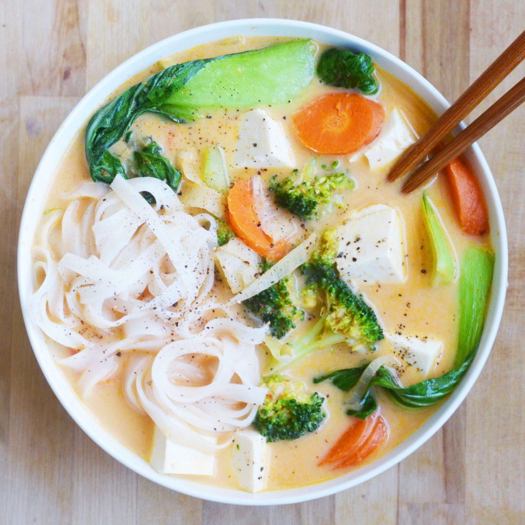 Coconut Curry Noodle Soup- My Favorite Takeout Copycat! Vegan + Gluten-Free